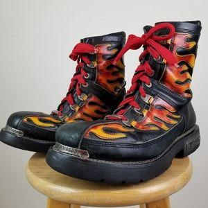 Rare Vtg Harley Davidson Flame Motorcycle Boots